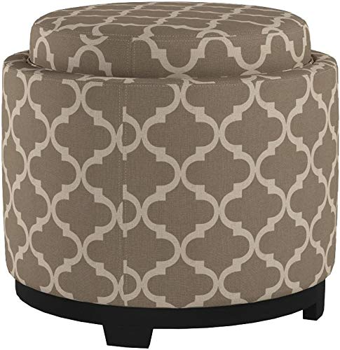 Ravenna Home Morrocan Storage Ottoman with Tray - 19 Inch, Grey and Cream - 7