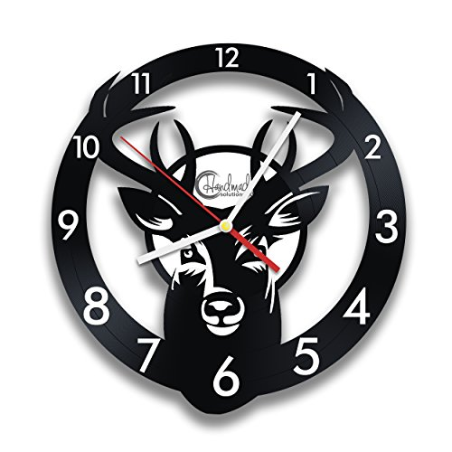 Wild Deer Black Wall Clock by Handmade Solutions - Farmhouse, Cabin or Kitchen Rustic Decor - Cool birthday gift idea for Hunters