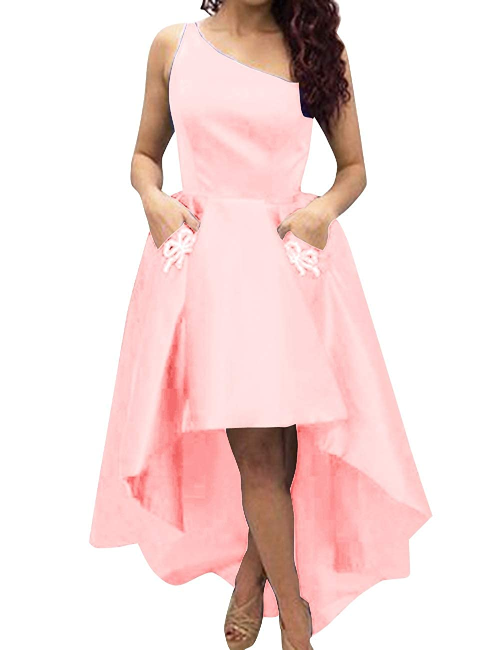bluesh Pink MorySong Women's One Shoulder High Low Sain Prom Cocktail Dress with Pockets