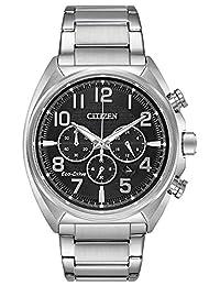 Citizen Men's Casual Analog Black Dial Silver Band Watch (Model: CA4280-88E)