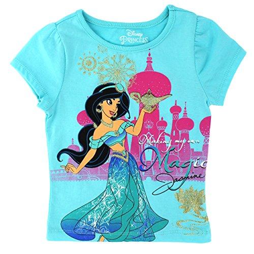 Disney Princess Girls Short Sleeve Tee (3T, Aqua Jasmine) (Princess Jasmine Disney)