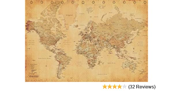 Amazon world map vintage style art poster print 36x24 amazon world map vintage style art poster print 36x24 poster revolution vintage map posters prints gumiabroncs Image collections