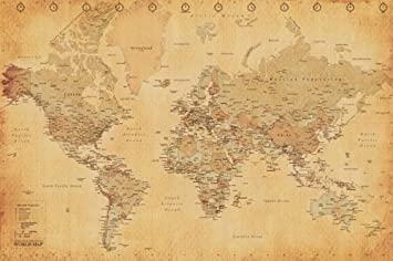 Amazon world map vintage style poster print posters prints world map vintage style poster print gumiabroncs Images