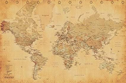 Frameable World Map.Amazon Com Pyramid World Map Vintage Style Poster Print Posters
