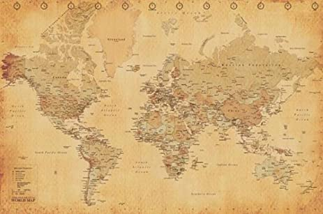 Amazon world map vintage style poster print posters prints world map vintage style poster print gumiabroncs Image collections