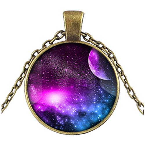 Galaxy Space Moon Nebula Glass Cabochon Necklace Women Trendy Pendant Necklace Bronze Long Chain Jewelry Necklace for Mom