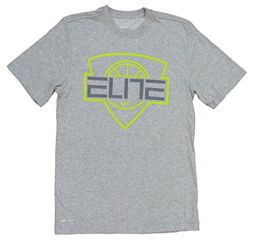 Nike Men's Elite Shield Dri-fit Basketball Shirt Gray (Medium)