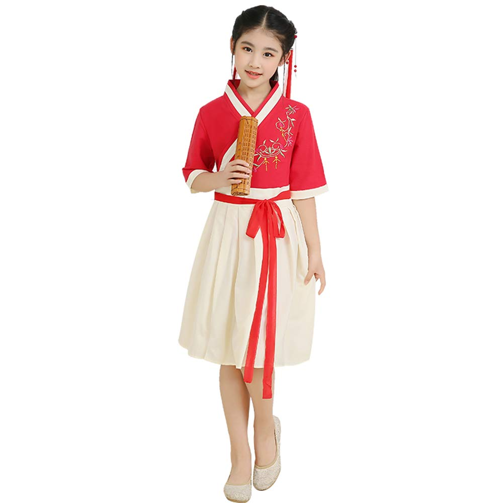 FXNN Hanfu-Chinese Style Costume Costumes Cotton and Linen Summer (Color : Red, Size : 130cm)