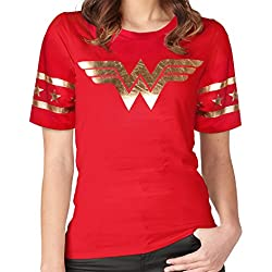[GRACES]Wonder Women Golden Foil Short Sleeve Red T-shirt (L, Red × Gold)