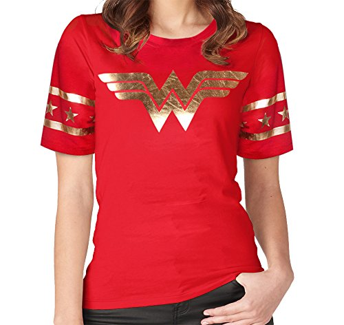 Wonder+Woman+Shirts Products : [GRACES]Wonder Women Golden Foil Short Sleeve Red T-shirt,Wonder Woman Red T-shirt