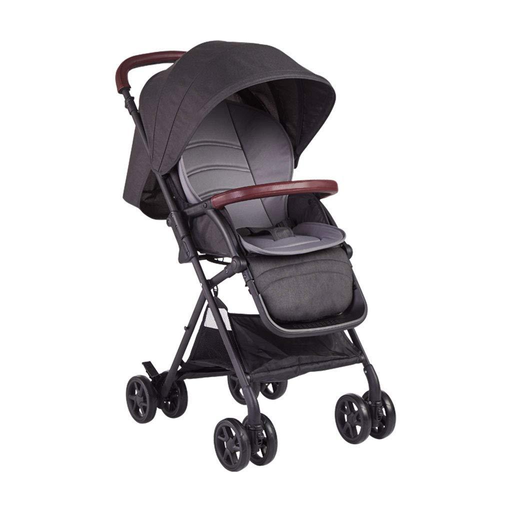 GLJJQMY ベビーカー高ランドスケープ折りたたみポータブル四輪耐衝撃性は旅行に座って横たわることができます 乳児用トロリー (Color : Black)  Black B07SS6T74Z