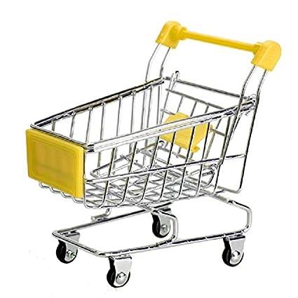 Generic amarillo: 6 colores Mini Supermercado Carrito de acero inoxidable Verde compras utilidad cesta modo