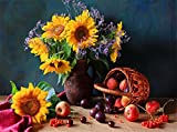 DIY Oil Painting by Numbers kit 16x20'' for Adults Beginner Children, CaptainCrafts New Creative DIY Digital Oil Painting Kids Linen Canvas - Sunflower Potted Fruit Basket (Frameless)