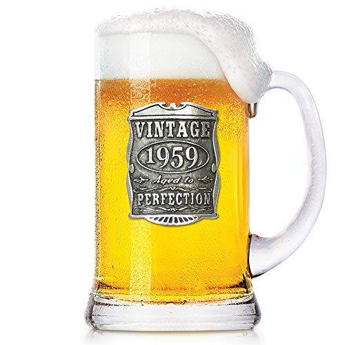 English Pewter Company 1 Pint Vintage Years 1959 60th Birthday or Anniversary Beer Mug Glass Tankard - Unique Gift Idea For Men [VIN030]