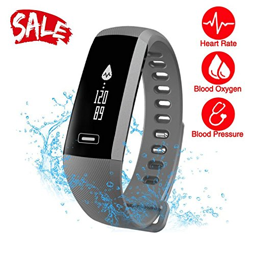Watch Pro Rate Monitor Heart (Smart Watch, Fitness Tracker, READ R5.PRO Heart Rate Monitor Blood Pressure Bracelet Pedometer Activity Tracker Sleep Monitoring Call SMS SNS Remind Watch for Android iOS (Grey))