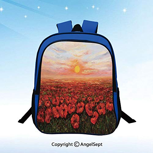 School Backpack Wild Opium Poppy With Petals Field in Front of Sunset Artistic Picture Unisex Classic Lightweight Water-resistant Backpack for Kids Schoolbag Travel Bookbag,Light Blue Green Red (Opium Made Easy)