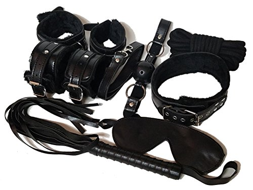 [12 Piece Starter Kit for Bondage Cosplay with Restraint Collar, Cuff Set, Blindfold Mask, Whip, and Gag] (90s Costumes Couples)