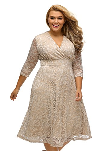 Fashion Women's Elegant Lace Sexy V-neck Plus Size Tall Waist Loose Hem Womens Dress (XX-Large,