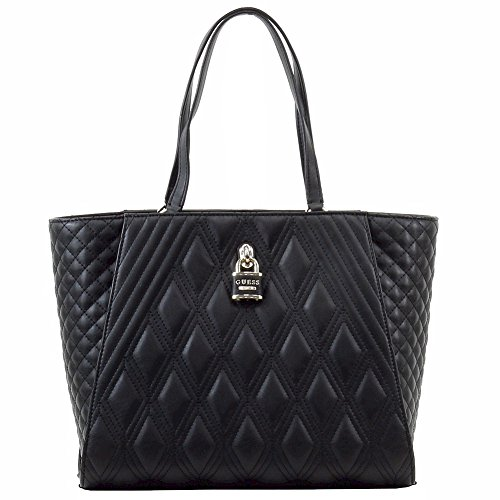 Guess Women's Shea Black Quilted Carry-All Tote Handbag