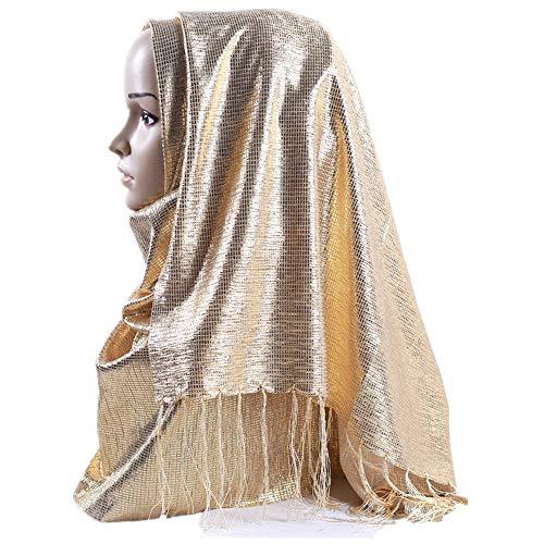 Muslim Hijab Gilding Purl Metallic Yarn Scarf Arabian Solid Color Tassel Tinsel Headscarf C40gold