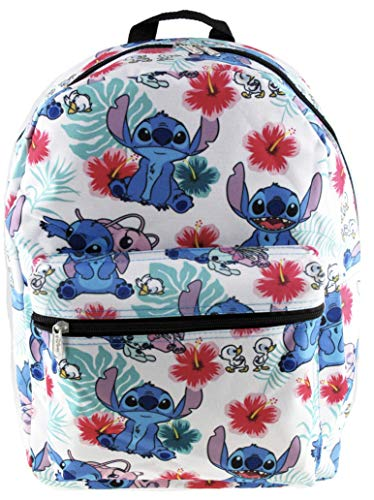 Lilo and Stitch White Allover Print 16 inch Girls Large School Backpack