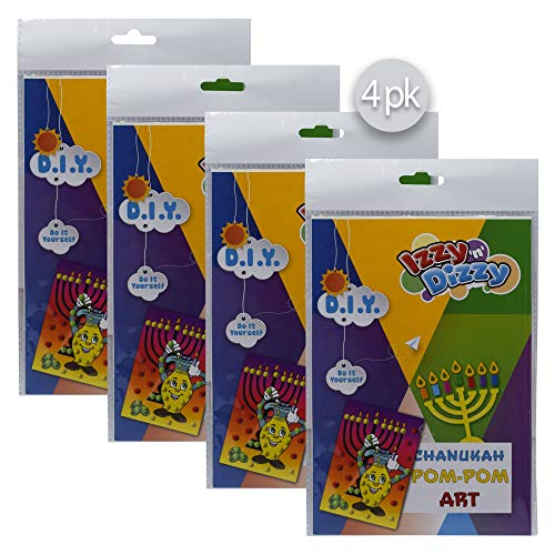 Izzy 'n' Dizzy Hanukkah Pom Pom Art Kit - 4 Pack - Includes 8