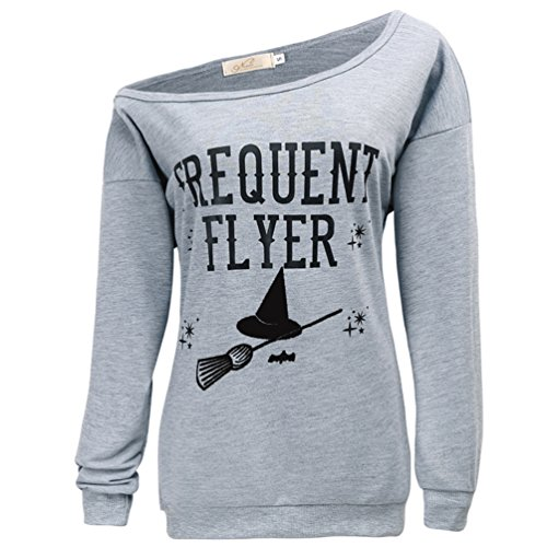 Halloween Shirts (Lyxinpf Women's Halloween Sweatshirts Witches Slouchy Shirts Off Shoulder Sweaters Long Sleeve Pullover Tops Light Grey D XL)