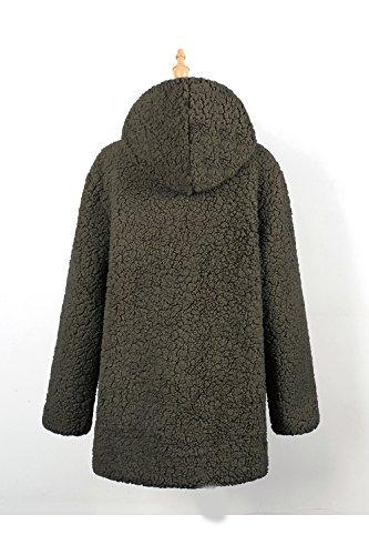 Fur Warm Casual Hoodie Botón Outcoat Peluda Jacket Green Winter Mujer La Faux xwAqHXW0Aa