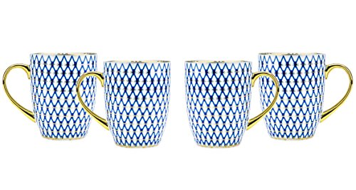 Majestic Porcelain, 24K Gold-Plated Tea Coffee Mugs with Golden Sputtering, Vintage Russian Gzhel Bone China Cobalt Blue Cups, 4-Piece Set + Complimentary Gift Pen
