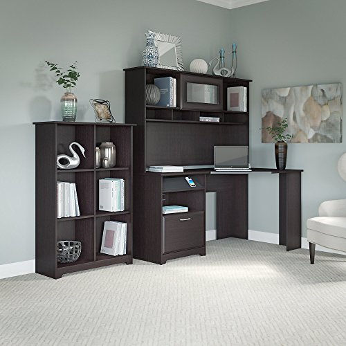 Cabot Corner Desk with Hutch and 6 Cube Bookcase (Computer Desk Cabot Corner)