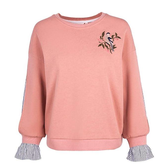 Sudaderas 2018 Spring New Loose Slimming Hong Kong Flavor Long-Sleeved Stitching Bordado suéter Mujeres: Amazon.es: Ropa y accesorios