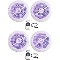 (2) Pairs of Rockville RMC65LW 6.5 2-Way White Marine Speakers Totaling 1200 Watt With Switchable Multi Color LED and Remote Truly Marine Grade Withstands Salt Spray, Water, and Sunlight