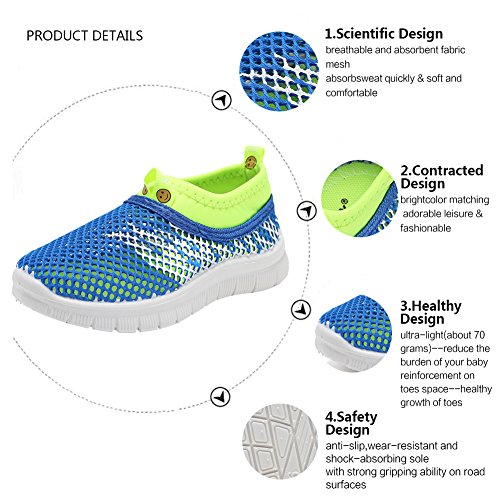 CIOR Kids Light Weight Sneakers AquaShoes Breathable Slip-On For Running Pool Beach Toddler/Little Kid,S644Blue,31 5