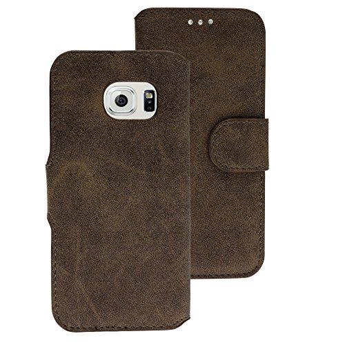Handy Schutz Tasche Geldbeutel Hülle Flip Case Etui Samsung Galaxy S6 edge Braun