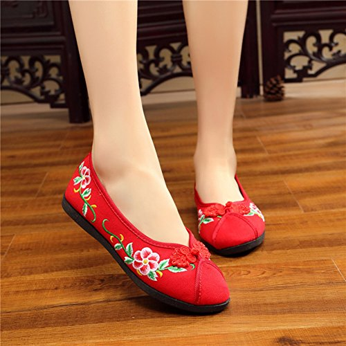 Avacostume Femmes Broderie Grâce Simplicité Appartements Cheongsam Robe Chaussures Rouge