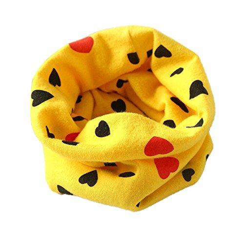 Auxma Invierno Niños Cuello Bufandas; Bufandas Chicas Bufandas Chicas con corazón de amor Amarillo