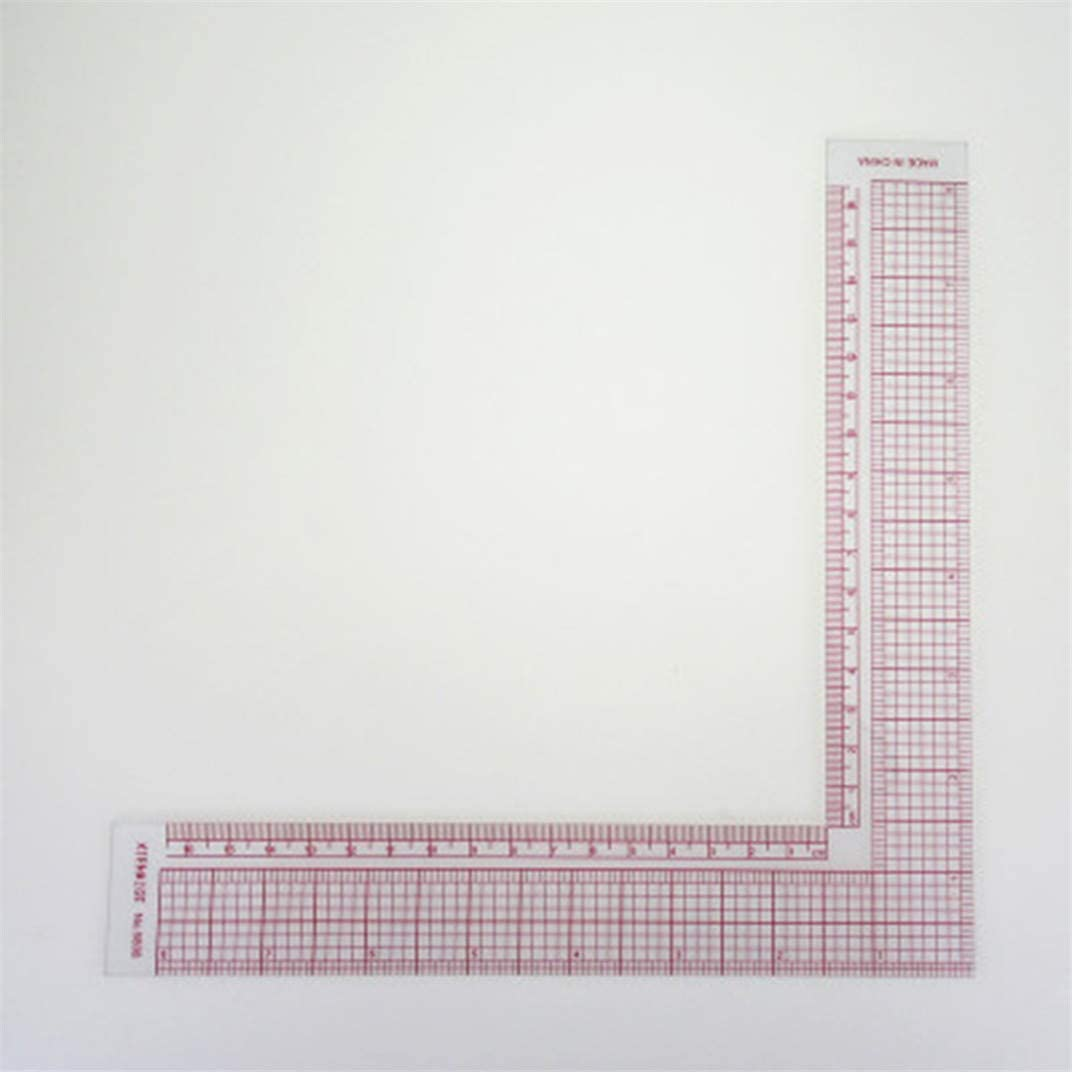 DYSCN 90-Degree Sewing Patchwork Quilting Ruler Plastic Garment Cutting Craft Scale Rule Drawing Supplies Sewing Accessories