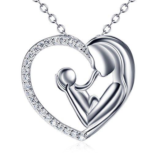 Silver Mountain Damen-Halskette mit Anhänger 925 Sterling Silber Zirkonia Herz Mutter und Kind, Länge: 45,7 cm