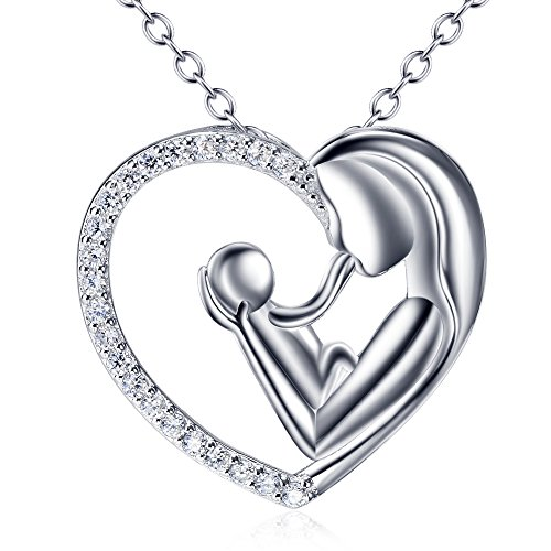 BGTY Sterling Silver Mother and Child Love Heart Pendant Necklace with Cubic Zirconia, Rolo Chain 18