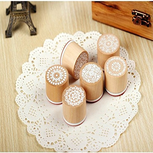 Ruikey Wooden Stamper Stamp Floral Round Handwriting Craft for Scrapbook Card Making 6pcs by Ruikey (Image #5)