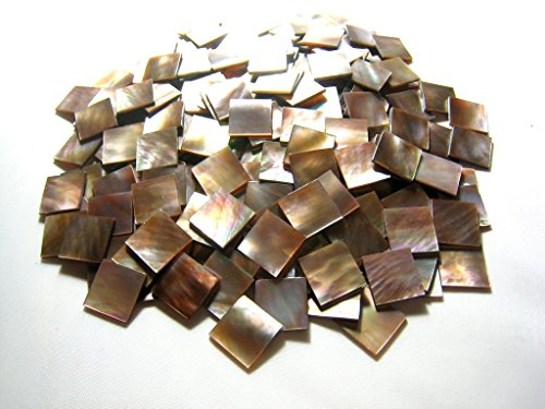 Yuan's 150 Pieces 1.5cm(0.59'') Square Rare Bronze Penguin Oyster Sea Shell. One Side Polished. For Mosaic Art Tiles, Guitar, Mandolin, Mandola Musical Instrument Inlay, Jewelry Design