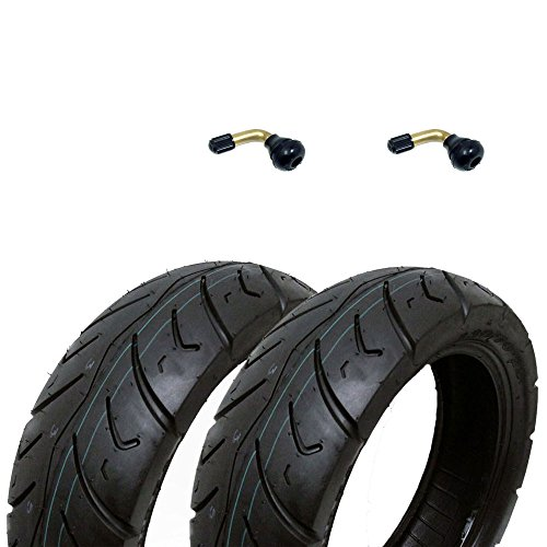 SET OF TWO: Tire 120/70-12 Tubeless Front/Rear Motorcycle Scooter Moped + 2 FREE TR87 Bent Valve Stems by MMG (Image #5)