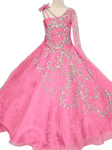 GreenBloom Little Girls' Bowknot One-shoulder Long Sleeves Beaded Sequins Embroidery Pageant Ball Gown Evening Dress Pink (Ball Gowns For Tweens)