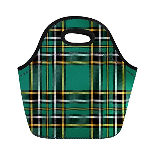 Semtomn Lunch Bags Traditional Green Ireland Irish Tartan Plaid Pattern Checkered Abstract Neoprene Lunch Bag Lunchbox Tote Bag Portable Picnic Bag Cooler Bag