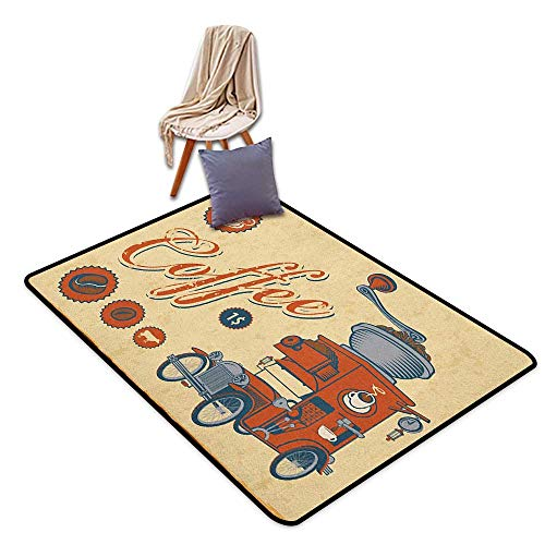 Children's Rugs Playrug Rugs Retro Artsy Commercial Design of Vintage Truck with Coffee Grinder Old Fashioned Door Rug for Internal Anti-Slip Rug W5'xL7'