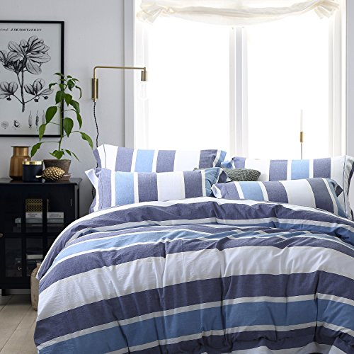 NTBAY 100% Washed Cotton Woven Striped Duvet Cover with Hidden Zipper, King Size, Blue