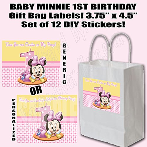 (Baby Minnie Mouse 1st Birthday Party Favors Supplies Decorations Gift Bag Label STICKERS ONLY 3.75