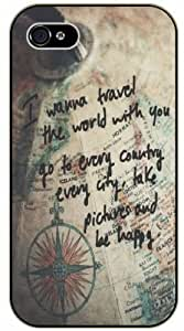 I wanna travel the world with you and be happy - Vintage map - Adventurer iPhone 5 5s Black plastic case - (Row 11-C)