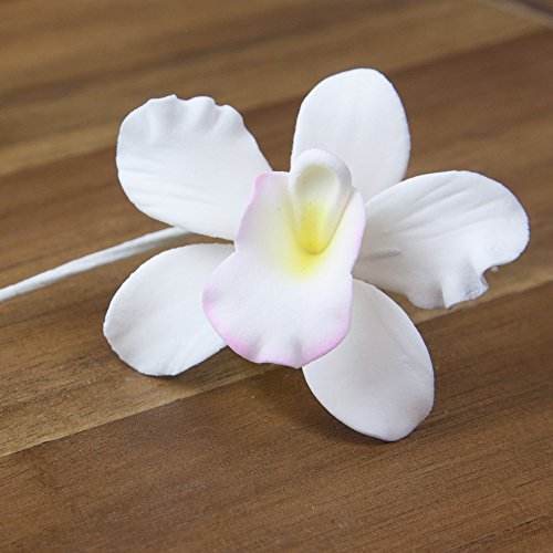 Pearly Orchids, White with Light Pink & Yellow Center, 24 Count by Chef Alan Tetreault