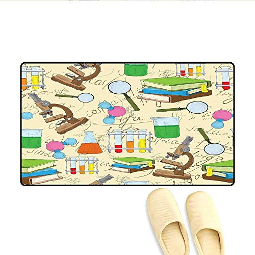 Bath Mat Science Education Lab Sketch Books Equation Loupe Microscope Molecule Flask Print Floor Mat Pattern Multicolor 24